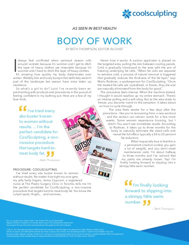 Best Health magazine article on CoolSculpting