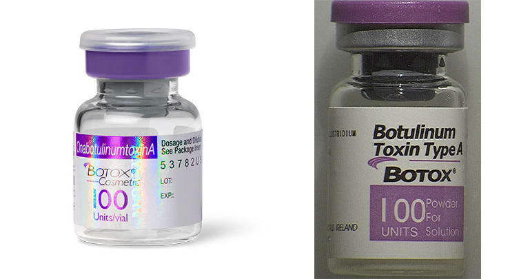 Vial of real Botox and fake Botox side by side comparison.